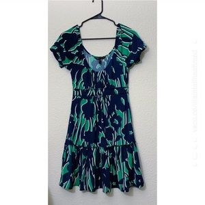 BCBGMAXAZRIA Blue Green Printed Mini Dress XS